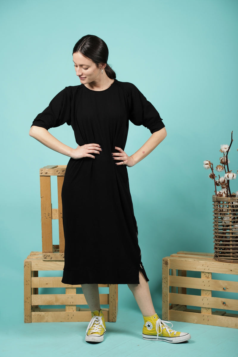 Woman black straight dress