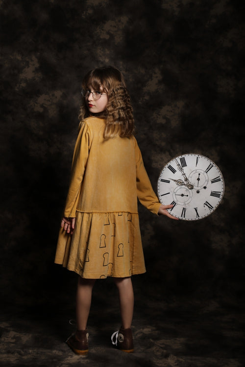 Girls Camel drop waist dress