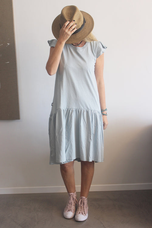 Women Light Blue Sleeveless Drop Waist Dress