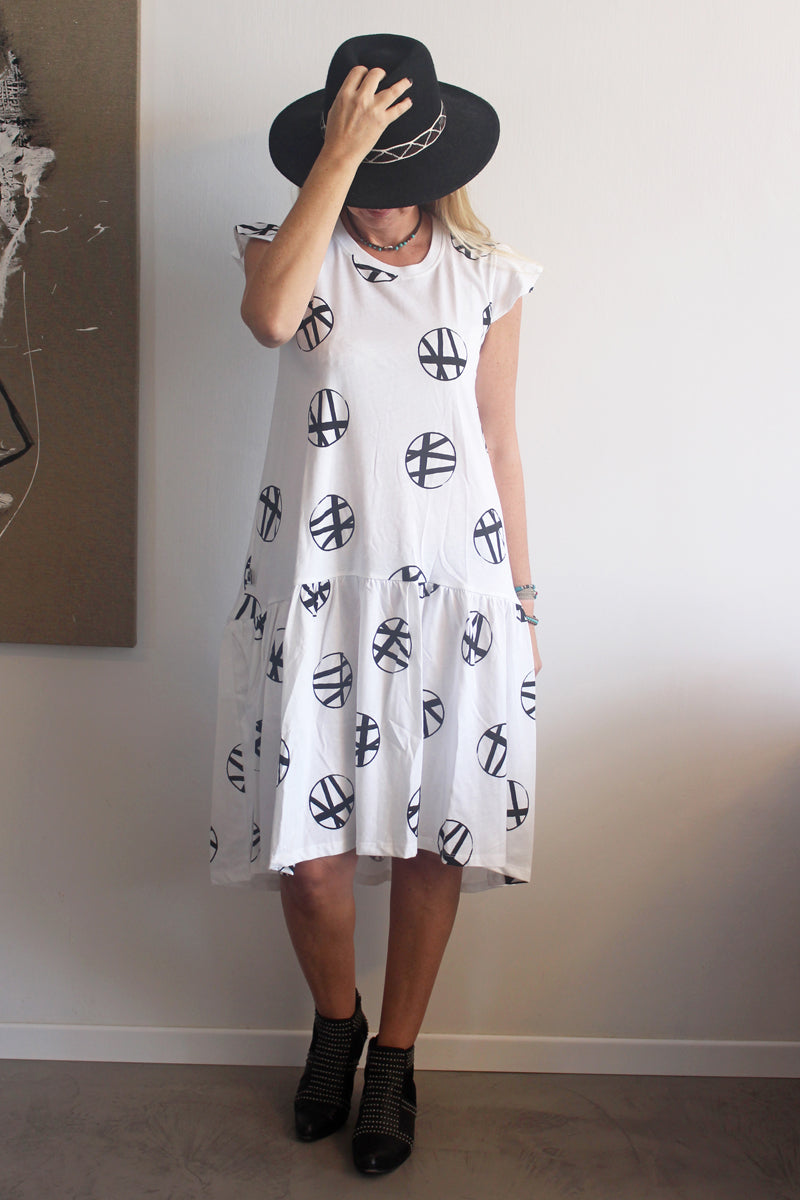Women White Circles Sleeveless Drop Waist Dress