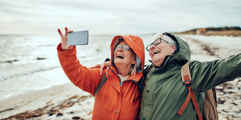 Two ladies taking a selfie image