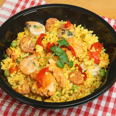 Roberto's Not-Classic Paella with Chorizo, Chicken, Prawns and Broad Beans