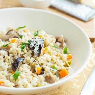 'Country Fields' Pearl Barley Risotto with Roasted Veg