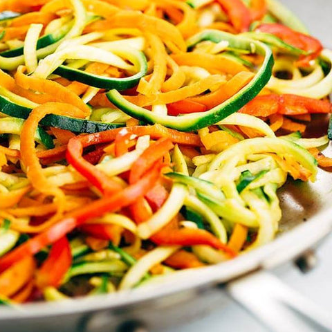 Spiralized Summer Vegetables with Herb Butter