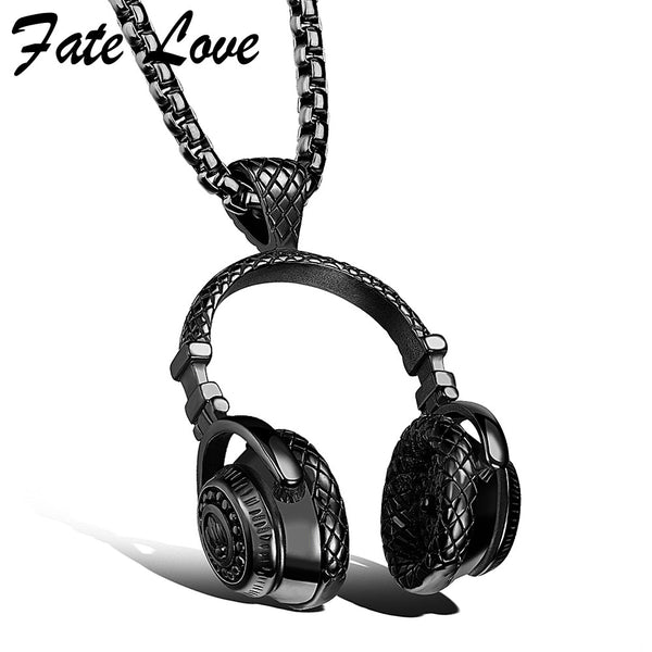 Hip Hop Stainless Steel Music Headphone Necklace - Buyyourselfagift