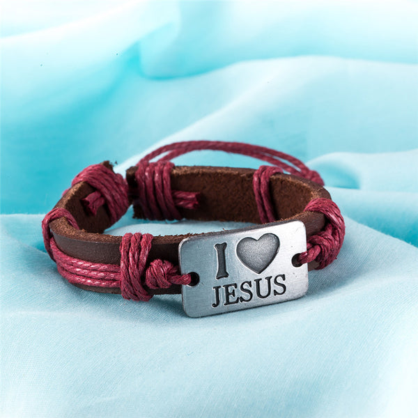 "FREE - His and Hers ""I Love JESUS"" rope and leather colour fashion Bracelets - (just pay Shipping & Handling)"