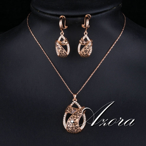 Gold Plated Austrian Leopard Earrings and Necklace Jewellery set