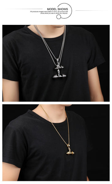 Mens Black Barbell Necklace - Buyyourselfagift