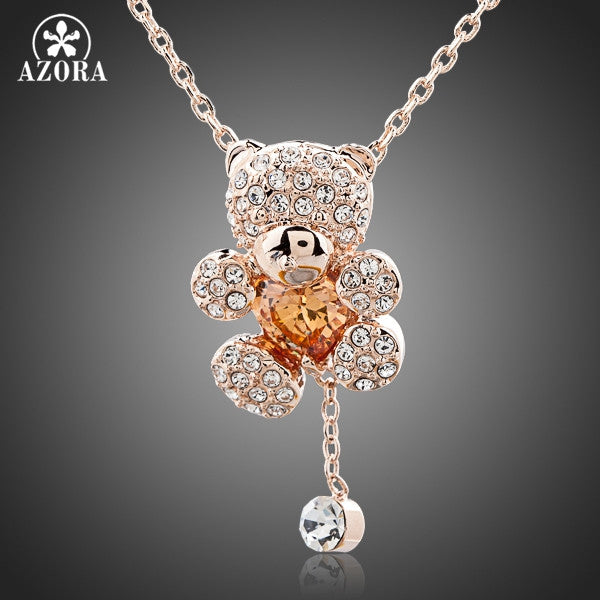 Cute Rhinestone Heart Shaped Bear Jewelry Necklace