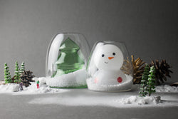 Double-Wall Glass - Snowman + Christmas Tree Bundle Set