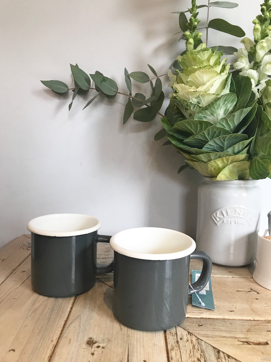 SALE - Charcoal enamel mugs - collection only