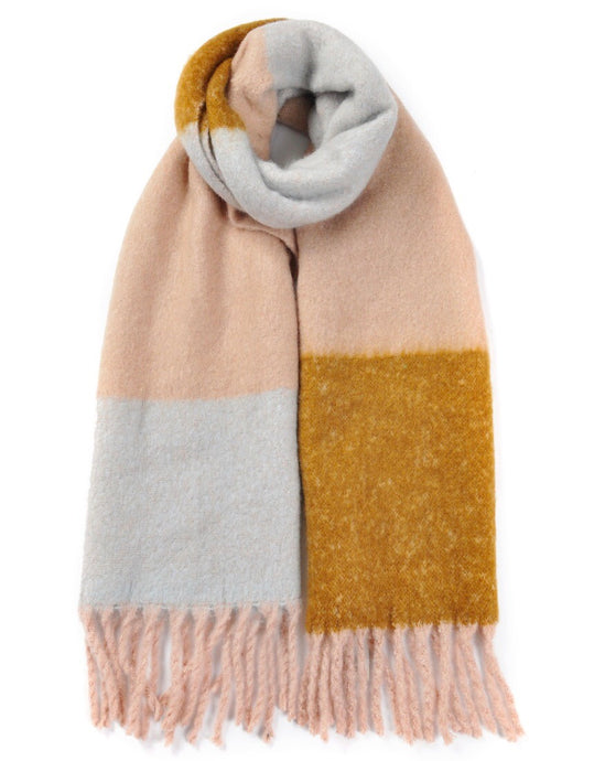 Lovely winter scarf - pink/pale blue/tan