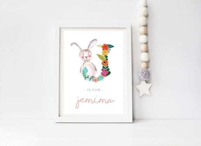 Girls personalised bunny print A4