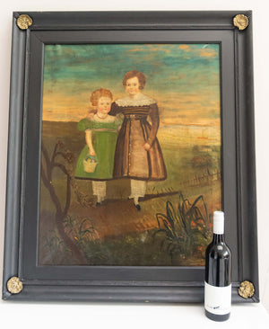 Large 19th century naive oil on canvas of two children standing in a landscape.