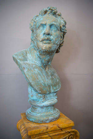 Plaster Bust of a companion of Odysseus in a faux verdigris finish. 5ft Tall !