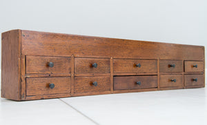 Victorian Had Made Tool Cabinet of narrow rectangular form, with three top compartments with lift off covers