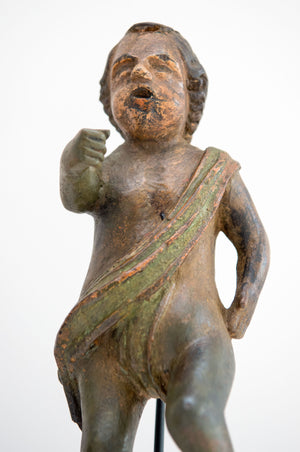 A Fine Baroque Polychrome Carved Wood Figure Of A Cherub 18th Century.
