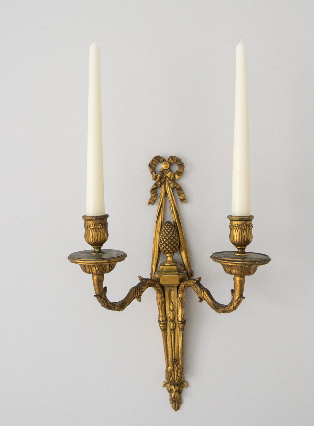 A Pair Of 19th Century Gilded Ormolu Two Branch Wall Sconces.English