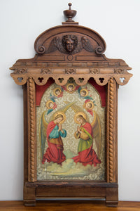 Antique Carved Wood Pediment Of A Winged Cherub Over Antique Religious Carved Niche Hand Painted Panel. Altarpiece.
