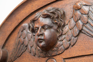 Wood Pediment Of A Winged Cherub Over Religious Carved Niche Hand Painted Panel