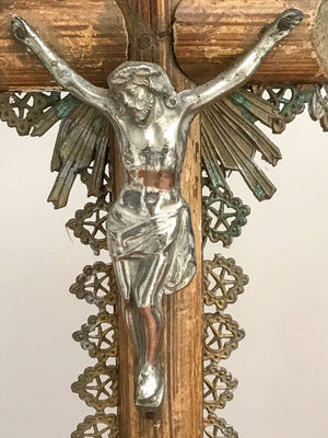 Antique Wooden Religious Altar Corpus Christi Crucifix.English C1900