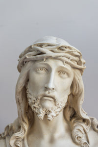 Early 20th Century Academy Plaster Bust Of Christ, Crown Of Thorns. Circa 1930