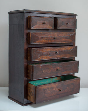 A superb miniature mahogany Apprentice chest of drawers, dating from the late 19th Century
