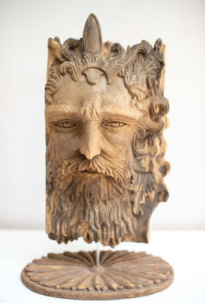Superb Carved Wooden mythological  Green Man face early 20th century