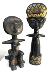 20th century Tribal Art Figures.TWO AFRICAN CARVED WOOD ASHANTI DOLLS & JANUS .