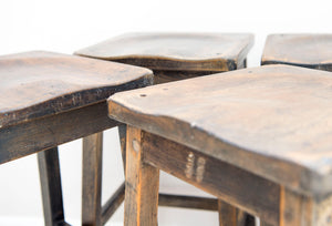Victorian English Laboratory stools from a science room made from Birch.