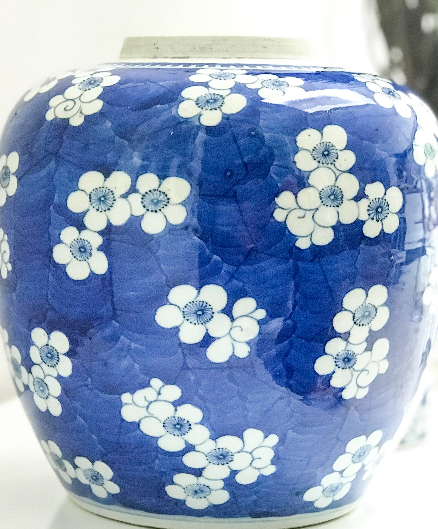 Blue & White Porcelain Ginger Jar Decorated With Plum Tree Flowers.Circa 1900