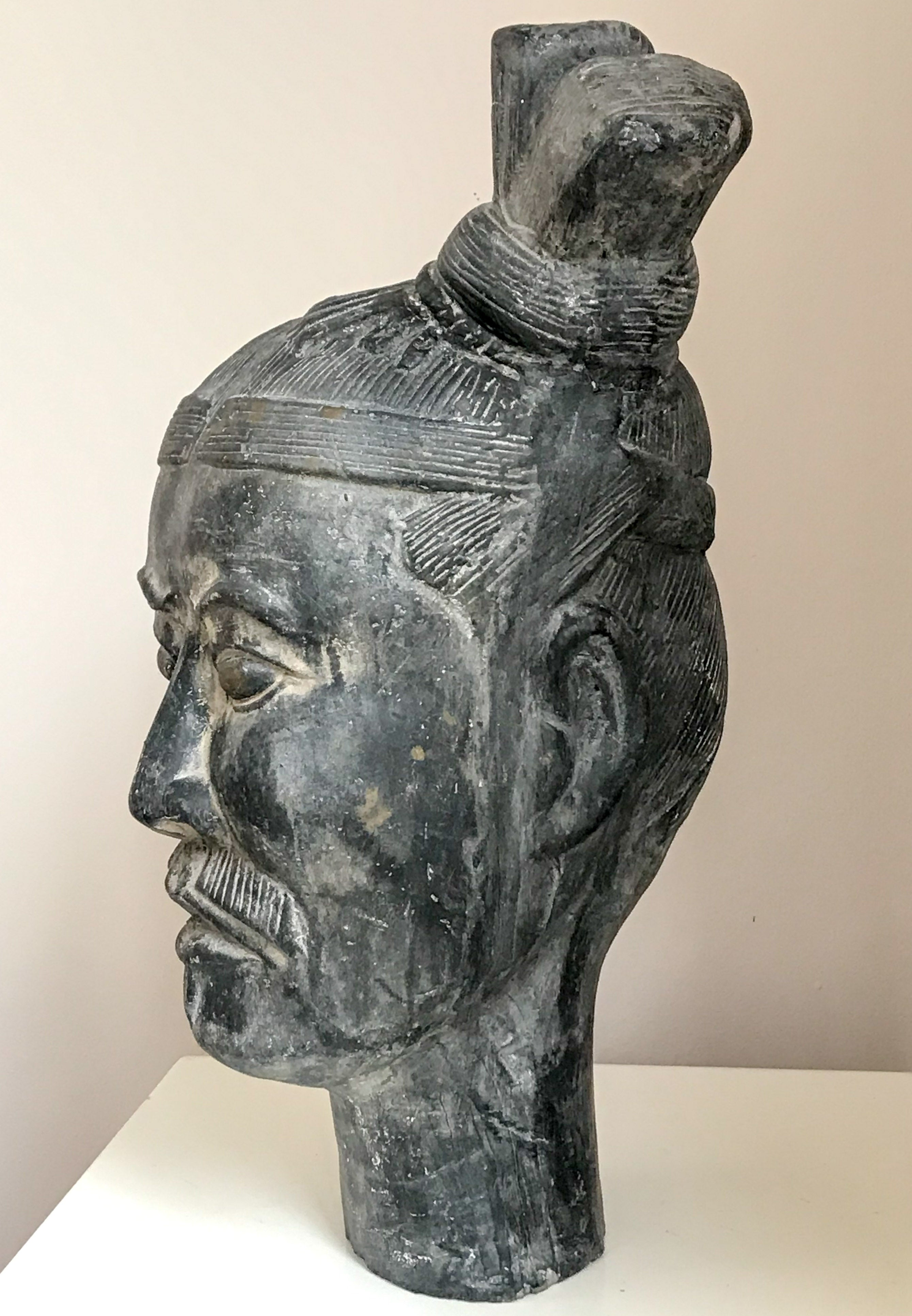 20th Century Chinese Terracotta Army Soldier Modelled In Clay.