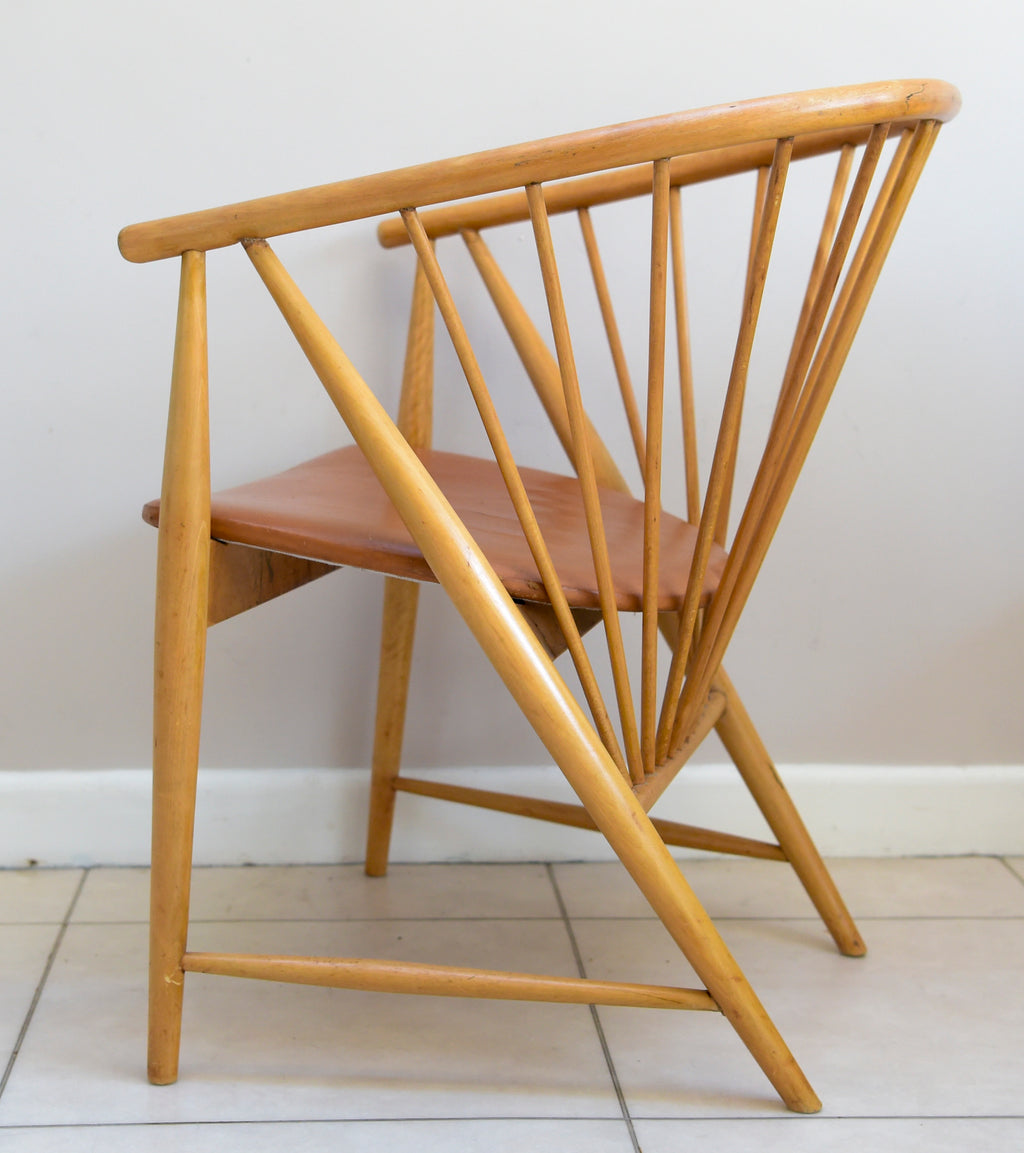 MID CENTURY SUN FEATHER SPINDLE CHAIR BY SONNA ROSEN FOR NÄSSJÖ STOLFABRIK 1948 50'S