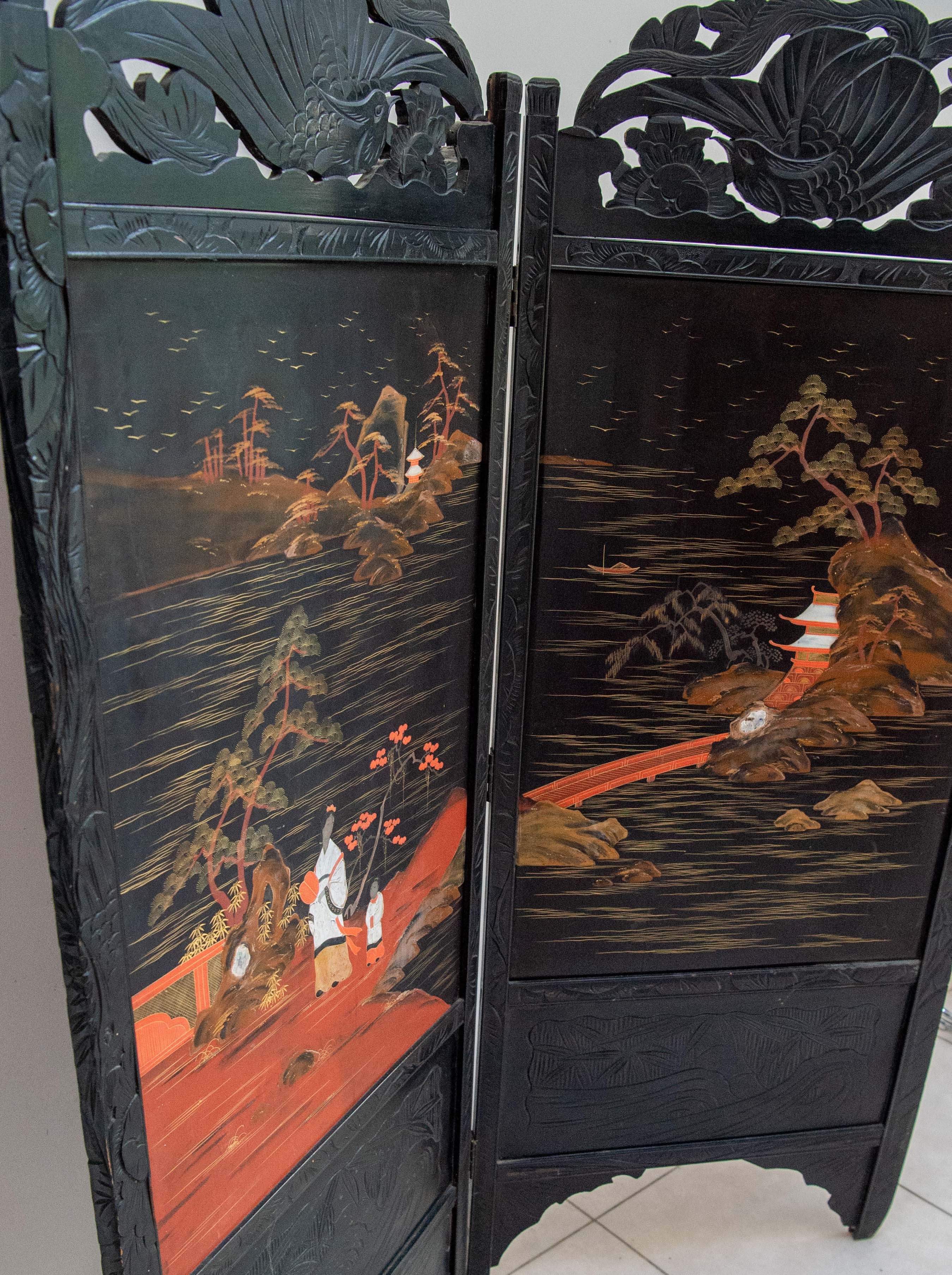 Mid 20th Century Hand Painted Oriental Two Fold Screen Original Panels With Exotic Colourful Scenes