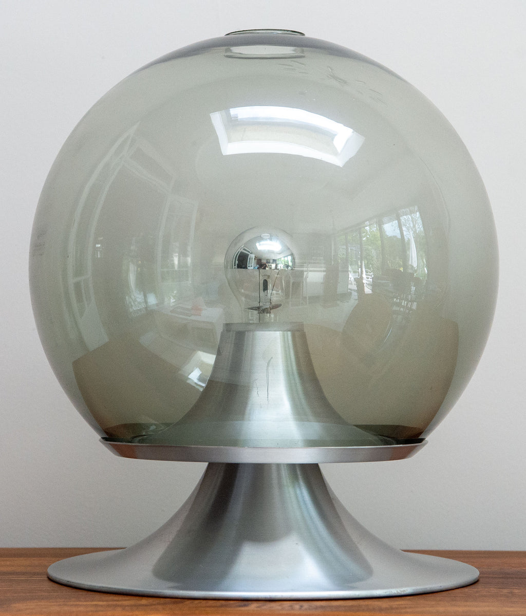 RARE ! 1960's DROOMEILAND (DREAM ISLAND) DESK LAMP BY RAAK. Spun aluminium and lightly smoked glass. Rarely available in this large 42cm size (Model: D-2002.00)