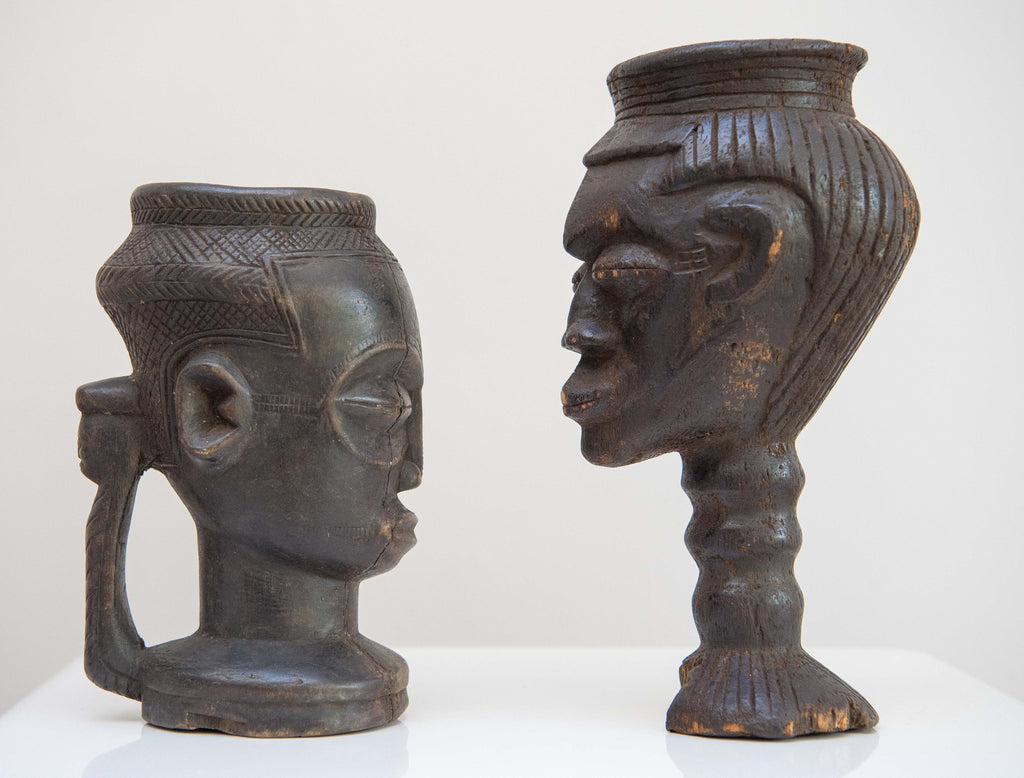 Two Antique Kuba Palm Wine Cups Late 19th–Early 20th Century With Provenance.