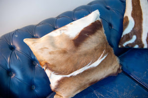 Two zebra skin cushion covers and an antelope skin cushion covers