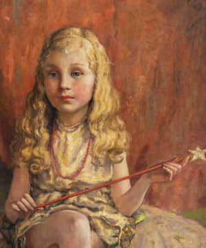 An Enchanting Early 20th century oil on canvas of a young girl with a wand.