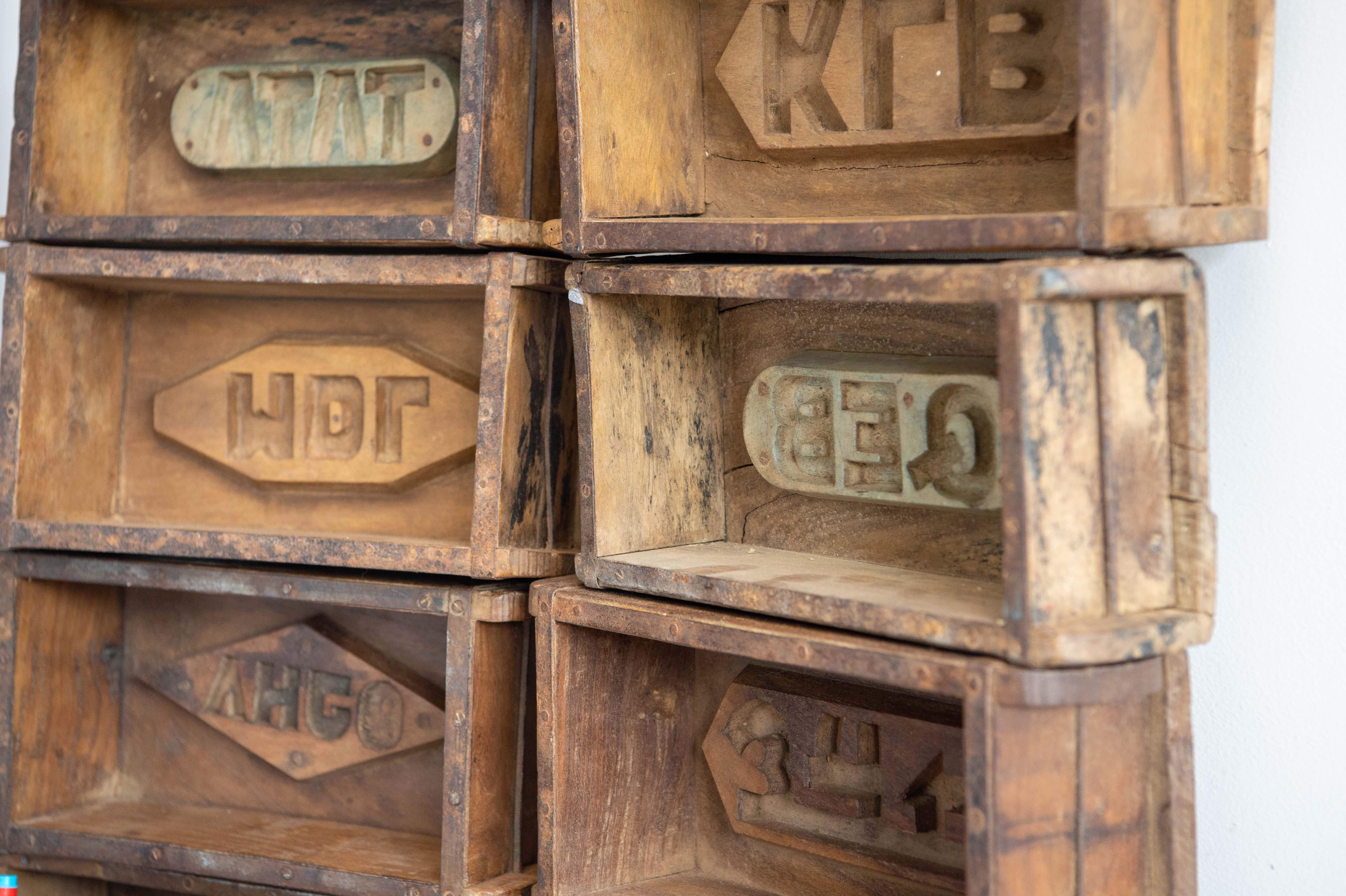 Wooden vintage brick moulds.