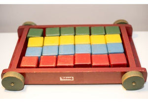 Tri-ang Children's Wooden Pull Wagon/Cart and bricks made in the 1950s