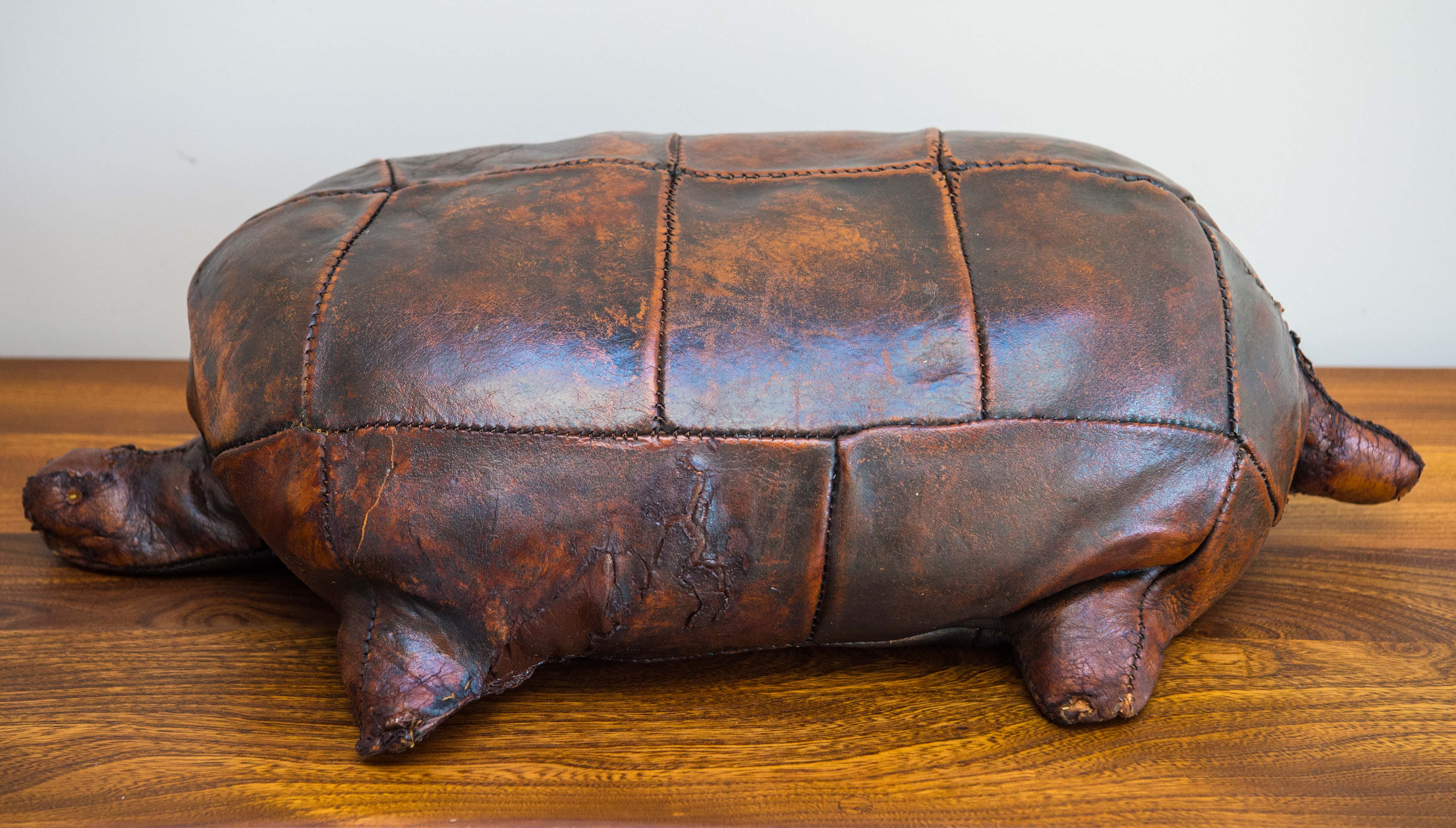 Adorable Original 1960'S Leather Turtle Designed By Dimitri Omersa