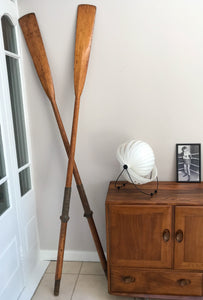 Antique Vintage 2.13 Metres Oars featuring leather Rowlocks . English Circa 1930