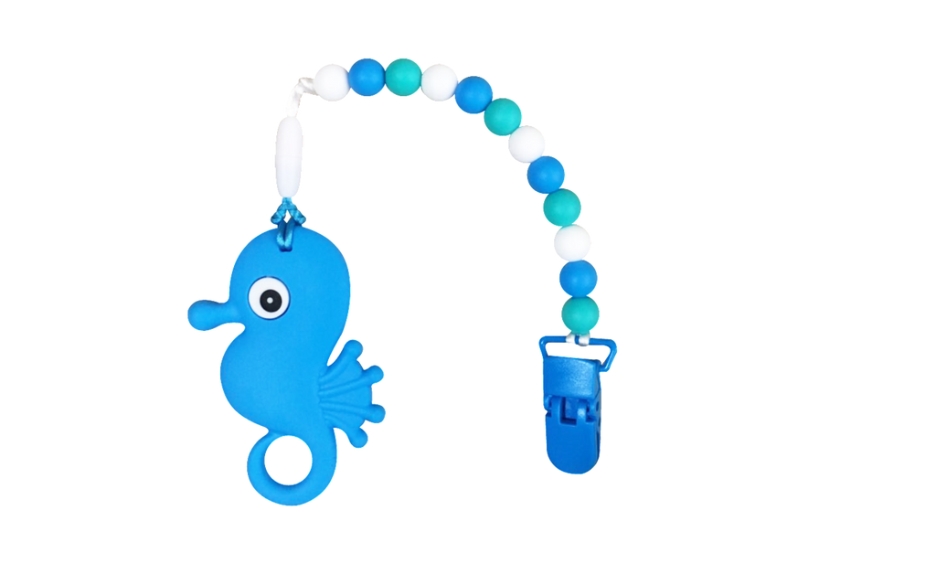 Seahorse Clipper - Blue - teethers