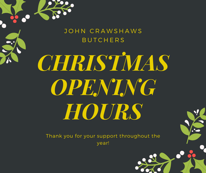 CHRISTMAS OPENING HOURS 2019/20