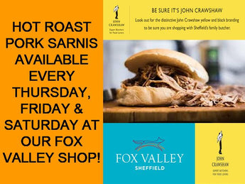HOT ROAST PORK SARNIS AT OUR FOX VALLEY SHOP!