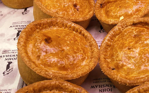Pork pies freshly baked at John Crawshaws Butchers, Sheffield