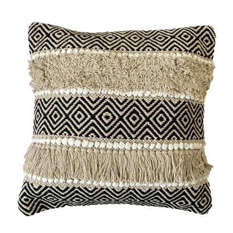 fringed woven cushion