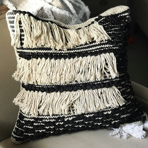 Gaia Black and White Fringe Cushion Cover