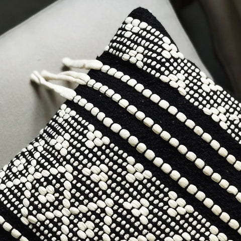 black and white boho cushion