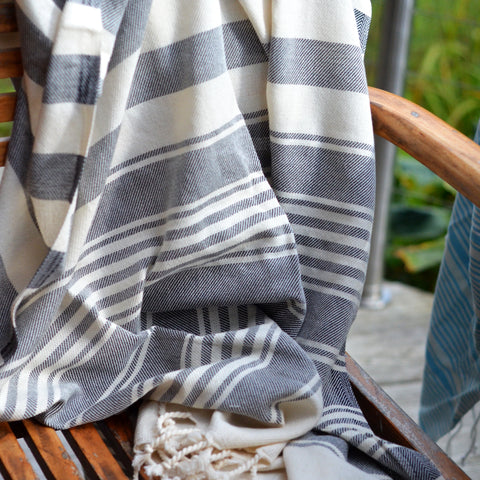 Hammam Throw/Towel - Black Striped
